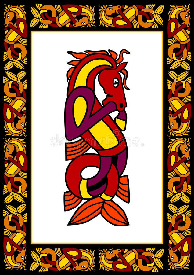 dekorativ celtic ram stock illustrationer