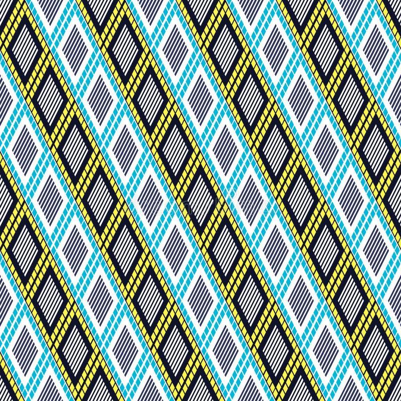 Dekorativ dekorativ geometrisk bakgrund för vektor med romben i blått-, guling- och vitfärger stock illustrationer