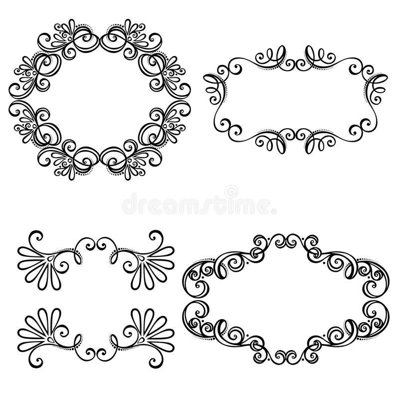 Dekorativ dekorativ ram för vektor för text stock illustrationer