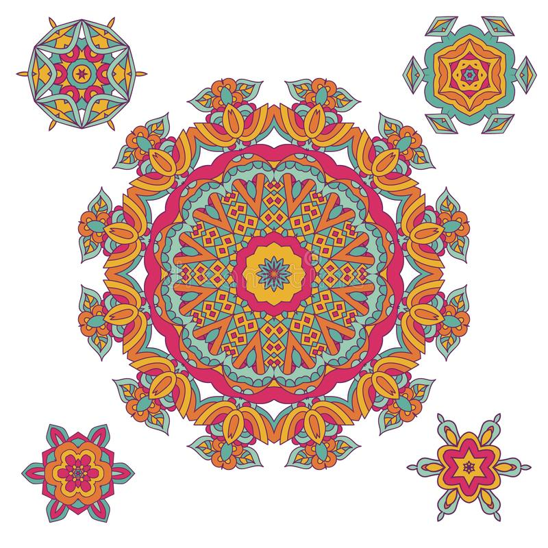 Dekorativ designelementsamling Etnisk dekorativ mandalamodell stock illustrationer