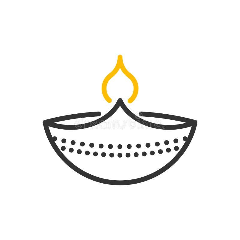 Dekorativ diwalilampsymbol Tunn linje illustrationdesignobjekt för vektor med flammabränning royaltyfri illustrationer