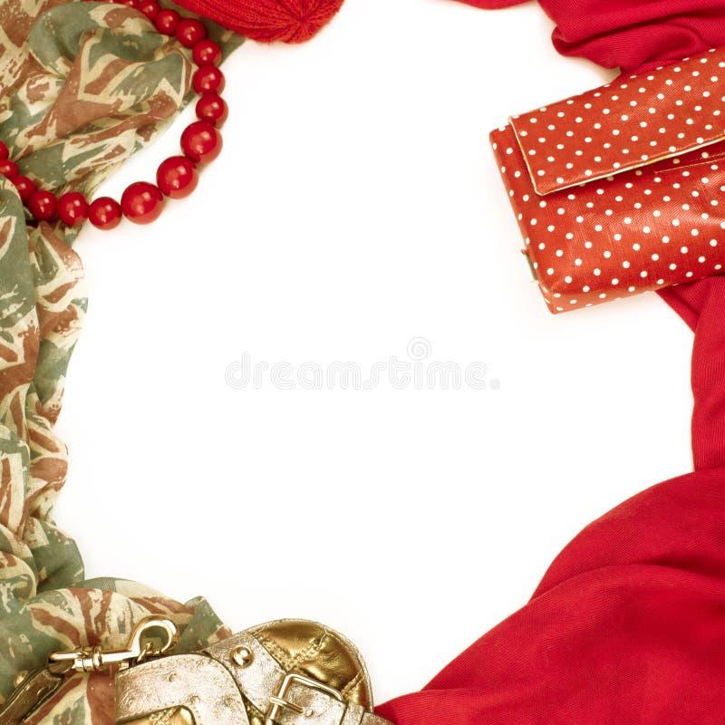 Dekorativ drapera ram av textilen Flaggan för den röda modellen för kvinnatillbehörhalsduken pryder med pärlor den brittiska gåva royaltyfri bild