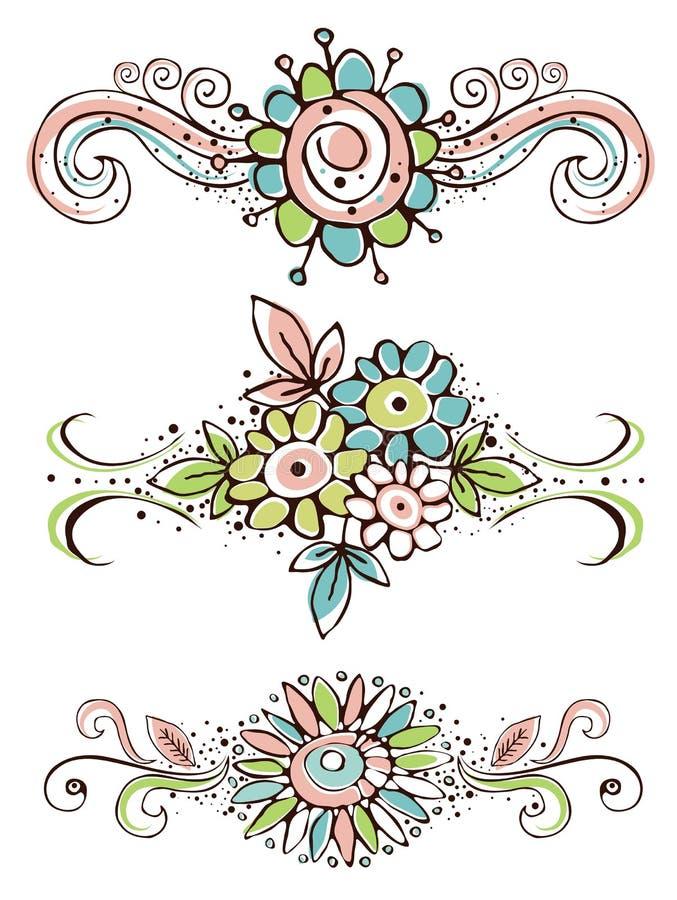 dekorativ draw blommar handprydnadar stock illustrationer
