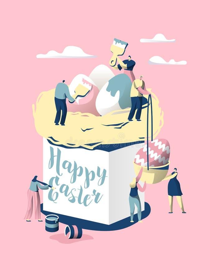 dekorativ easter för brödcake tradition Teckenet gör bröd för firar Christian Holiday Dekorera med det färgrika ägget och skriv ö stock illustrationer