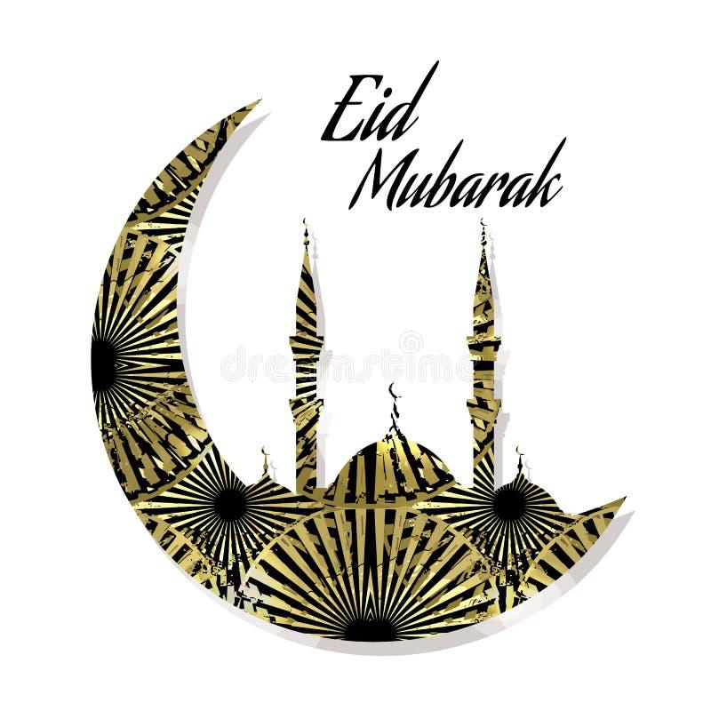Dekorativ Eid Mubarak bakgrund med guld- motiv vektor illustrationer