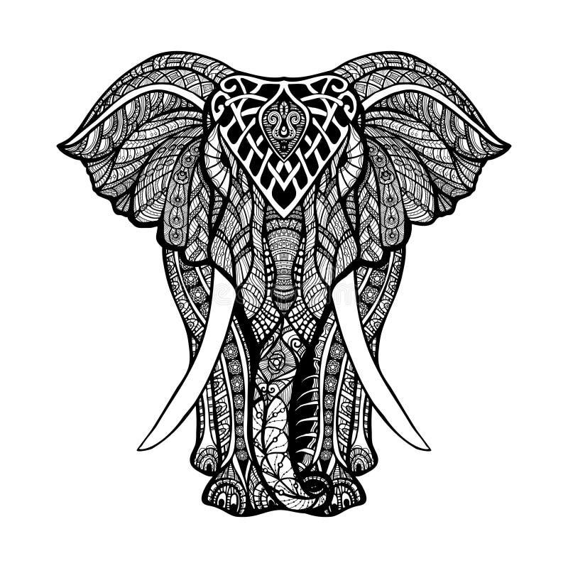 Dekorativ elefantillustration vektor illustrationer
