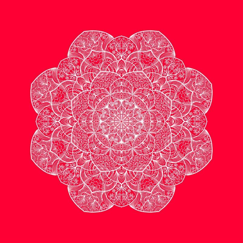 Dekorativ elegant spets- modell Abstrakta Mandala Design vektor illustrationer