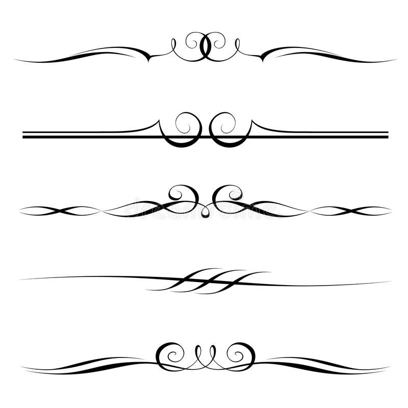 dekorativ elementset vektor illustrationer