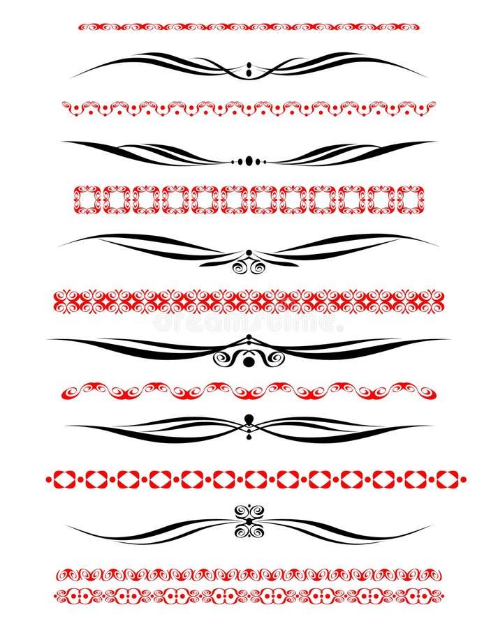 dekorativ elementset stock illustrationer