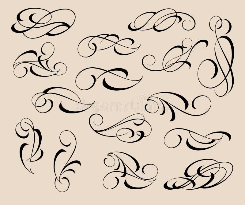 dekorativ elementset avdelare också vektor för coreldrawillustration royaltyfri illustrationer
