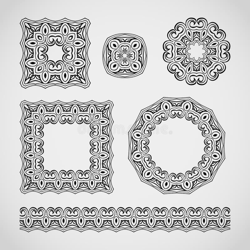 dekorativ elementset Spets- ramar, modeller och gränsprydnad också vektor för coreldrawillustration stock illustrationer