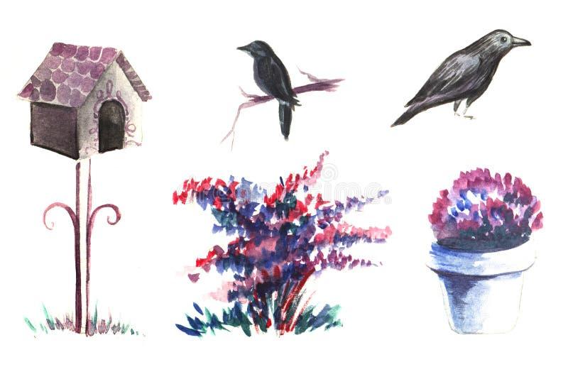 dekorativ elementset Trädgårdblomningväxter, blommor och buskar Voljär på en stjälk, svarta fågelstare vektor illustrationer