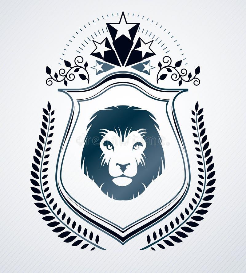 Dekorativ emblemsammansättning för tappning, heraldisk vektor stock illustrationer