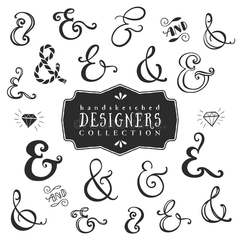 Dekorativ et-teckensamling för tappning tecknad handvektor stock illustrationer