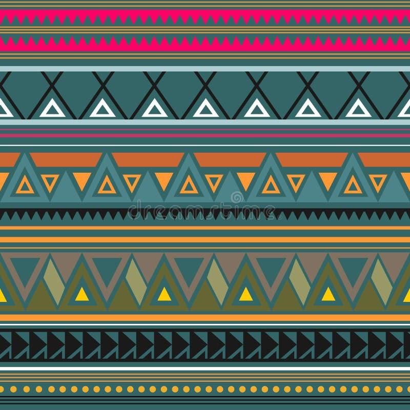 Dekorativ etnisk modell för sömlös vektor med geometriska prydnader Bakgrund för utskrift på papper, tapet, räkningar, textiler vektor illustrationer