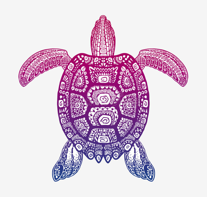 Dekorativ etnisk sköldpadda med den dekorativa modellen Stam- totemdjur för vektor royaltyfri illustrationer