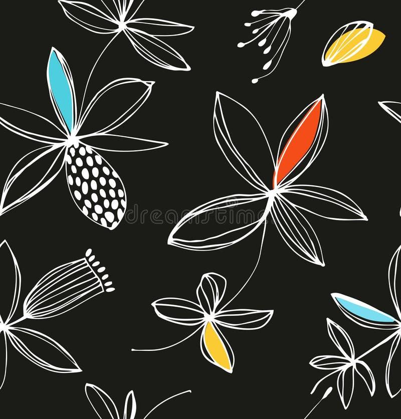 Dekorativ färgrik blom- sömlös modell Vektorsommarbakgrund med gulliga blommor royaltyfri illustrationer