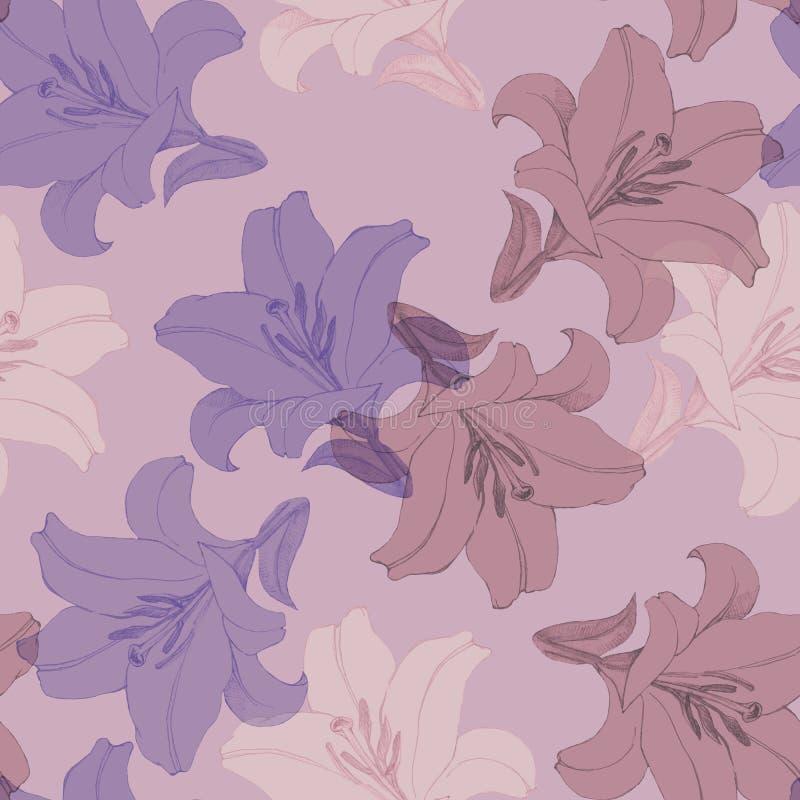 Dekorativ färgrik blommalilja Version B Blom- sömlös modell för design royaltyfri illustrationer