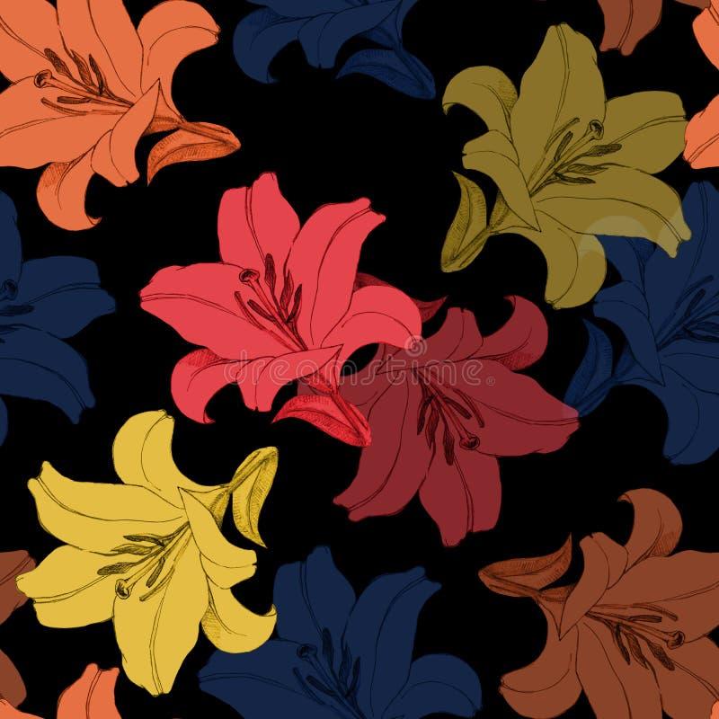 Dekorativ färgrik blommalilja Version A Blom- sömlös modell för design stock illustrationer