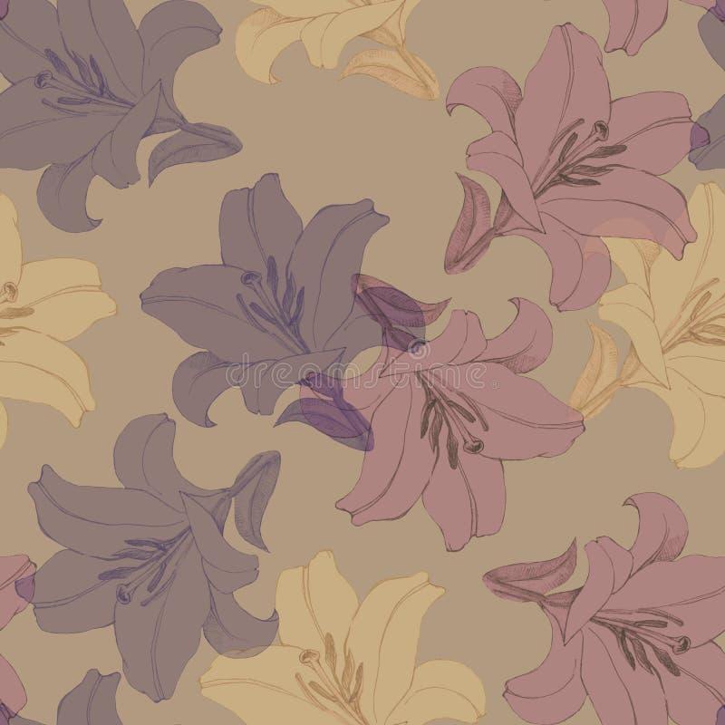 Dekorativ färgrik blommalilja Version C Blom- sömlös modell för design vektor illustrationer