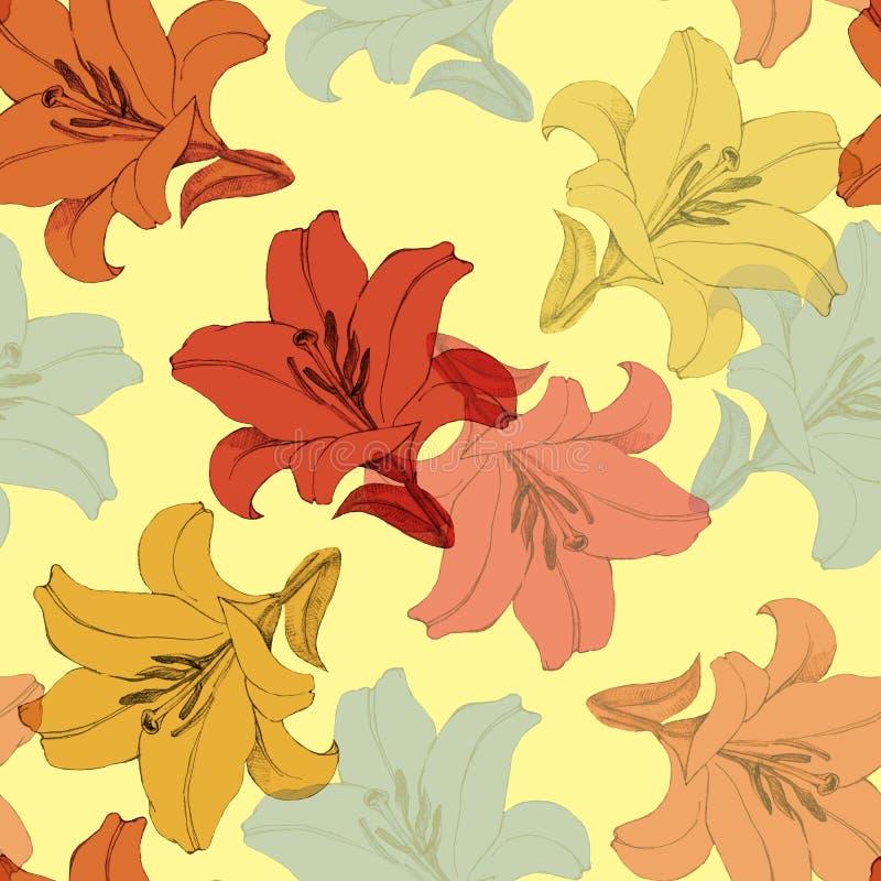 Dekorativ färgrik blommalilja Version D Blom- sömlös modell för design royaltyfri illustrationer