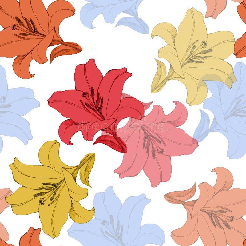 Dekorativ färgrik blommalilja Version E Blom- sömlös modell för design royaltyfri illustrationer