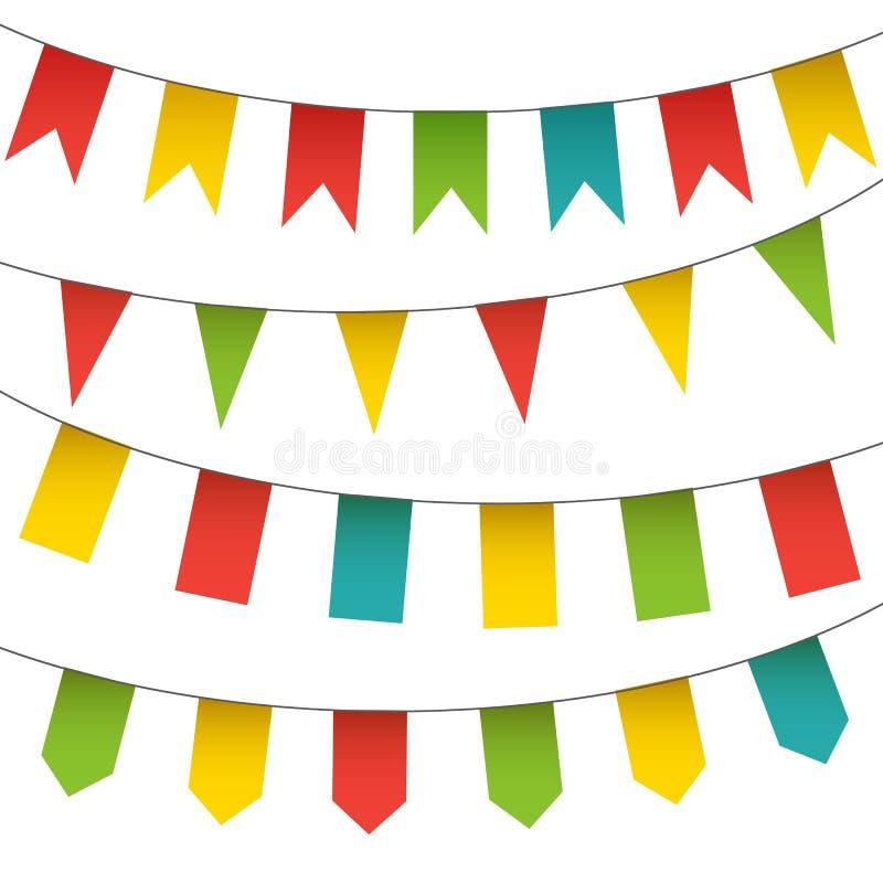 Dekorativ färgrik flaggor och buntinggirlanduppsättning Vektor isolerad karnevalbeståndsdelsamling stock illustrationer