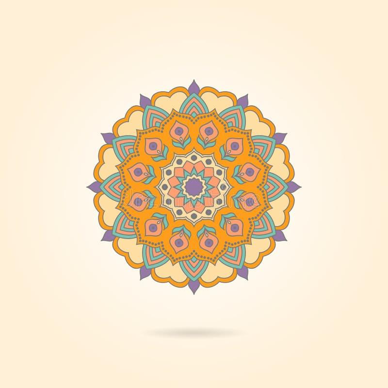 Dekorativ färgrik mandala på en beige bakgrund Stilfull geome vektor illustrationer