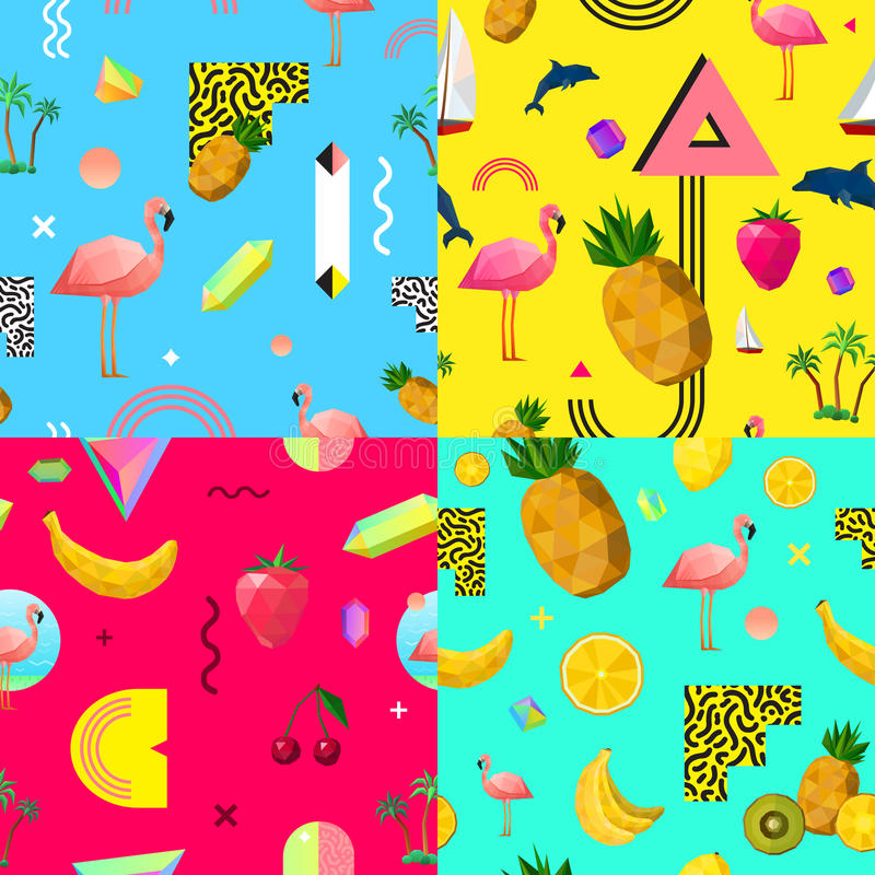 Dekorativ färgrik sömlös modelluppsättning stock illustrationer