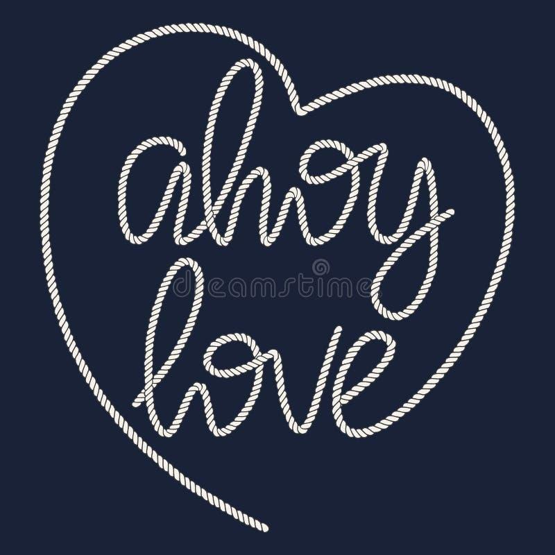 Dekorativ förälskelse för rephandbokstäver Ahoy vektor illustrationer