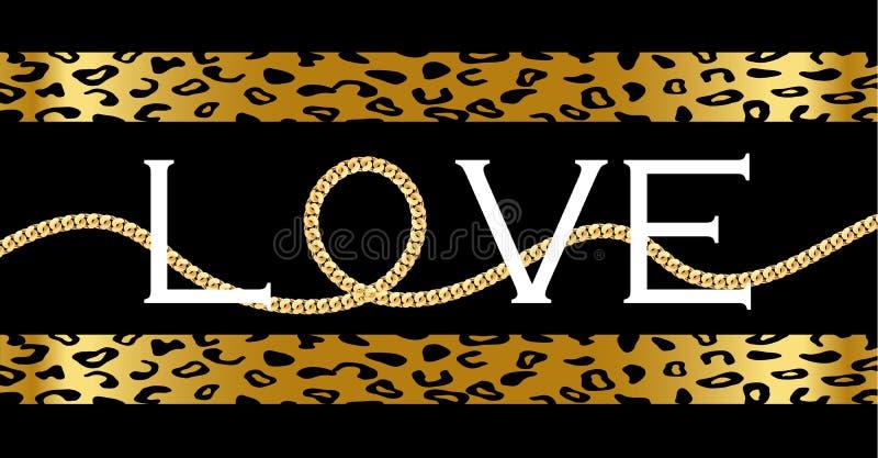 Dekorativ 'förälskelse'text med med den guld- kedjan på leopard royaltyfri illustrationer
