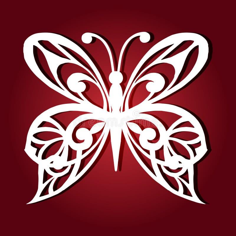Dekorativ fjäril för laser-klipp royaltyfri illustrationer