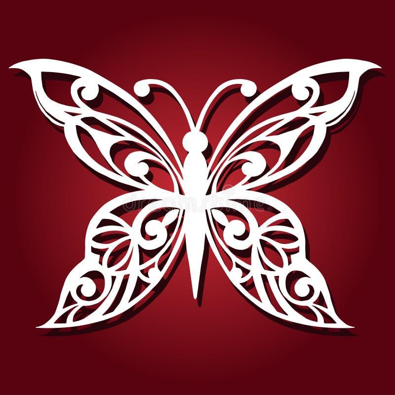 Dekorativ fjäril för laser-klipp vektor illustrationer