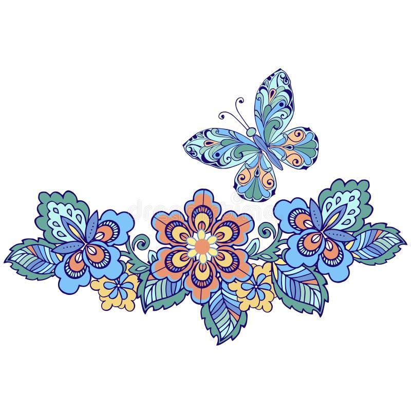 Dekorativ fjäril med blom- modeller för design av kort, inbjudningar royaltyfri illustrationer