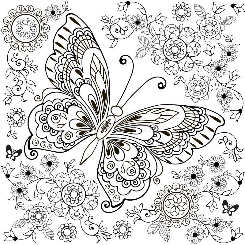 Dekorativ fjäril med den blom- prydnaden för anti-Stresa färgläggning stock illustrationer