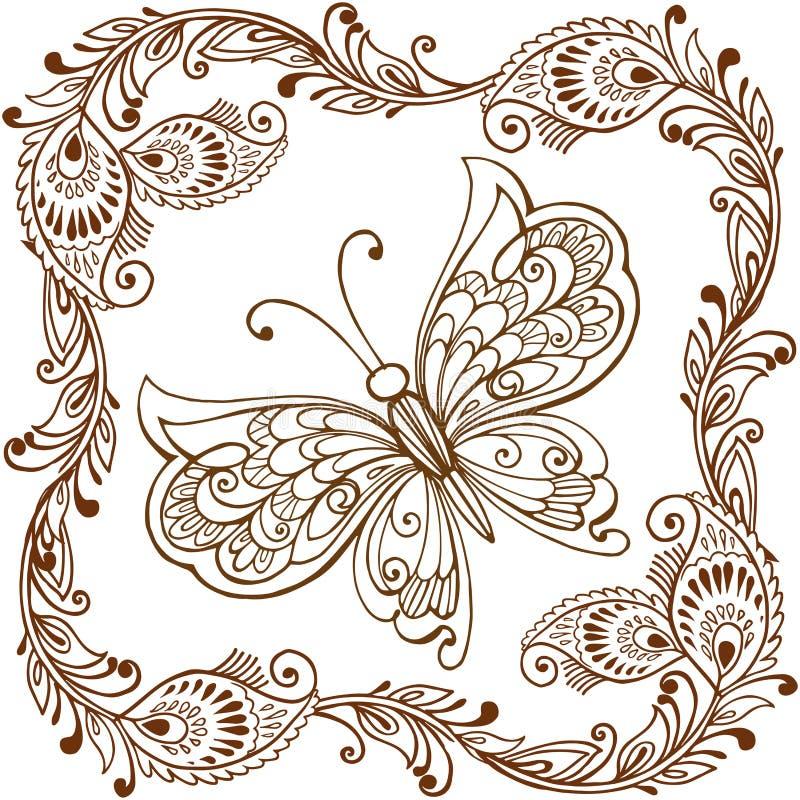 Dekorativ fjäril med den indierpaisley prydnaden Dekorativ fjäril för att färga anti--spänning vektor illustrationer