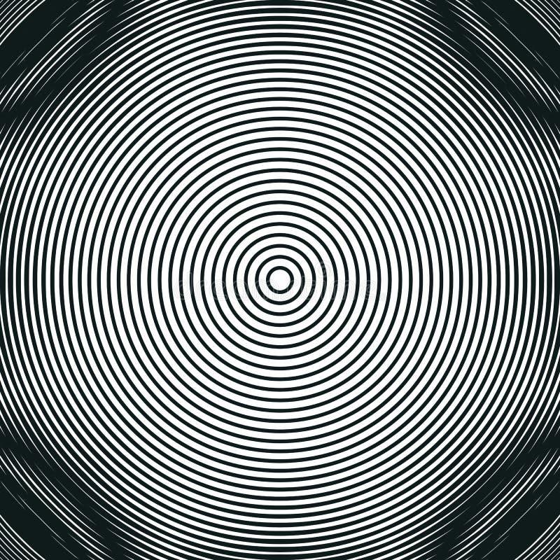 Dekorativ fodrad hypnotisk kontrastbakgrund Optisk illusion, vektor illustrationer