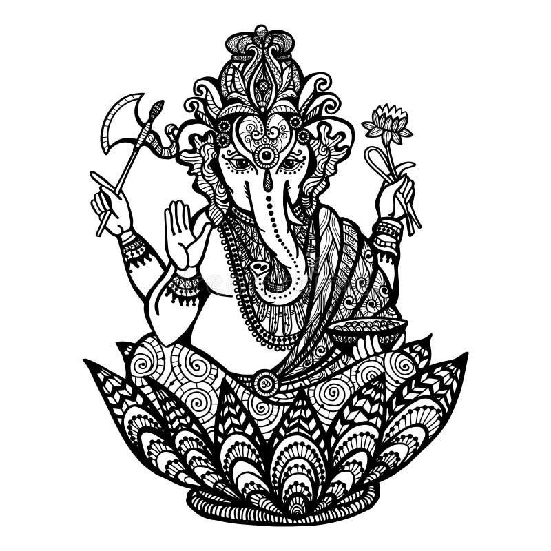 Dekorativ Ganesha illustration vektor illustrationer