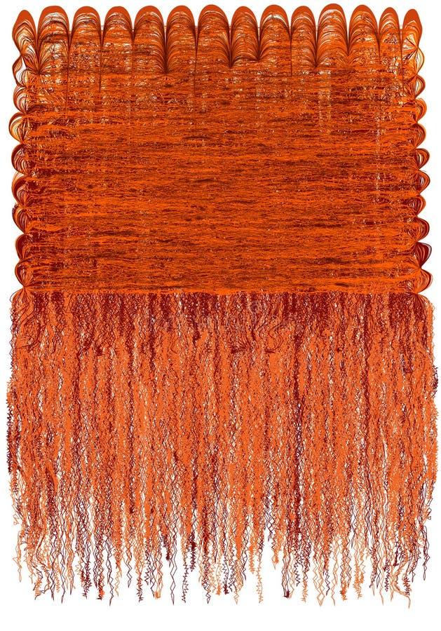 Dekorativ gobeläng med den randiga krabba modellen för grunge och lång fluffig frans i apelsin, bruna färger stock illustrationer