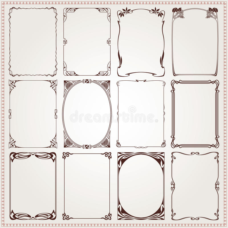 Dekorativ gränser och vektor för ramArt Nouveau stil stock illustrationer
