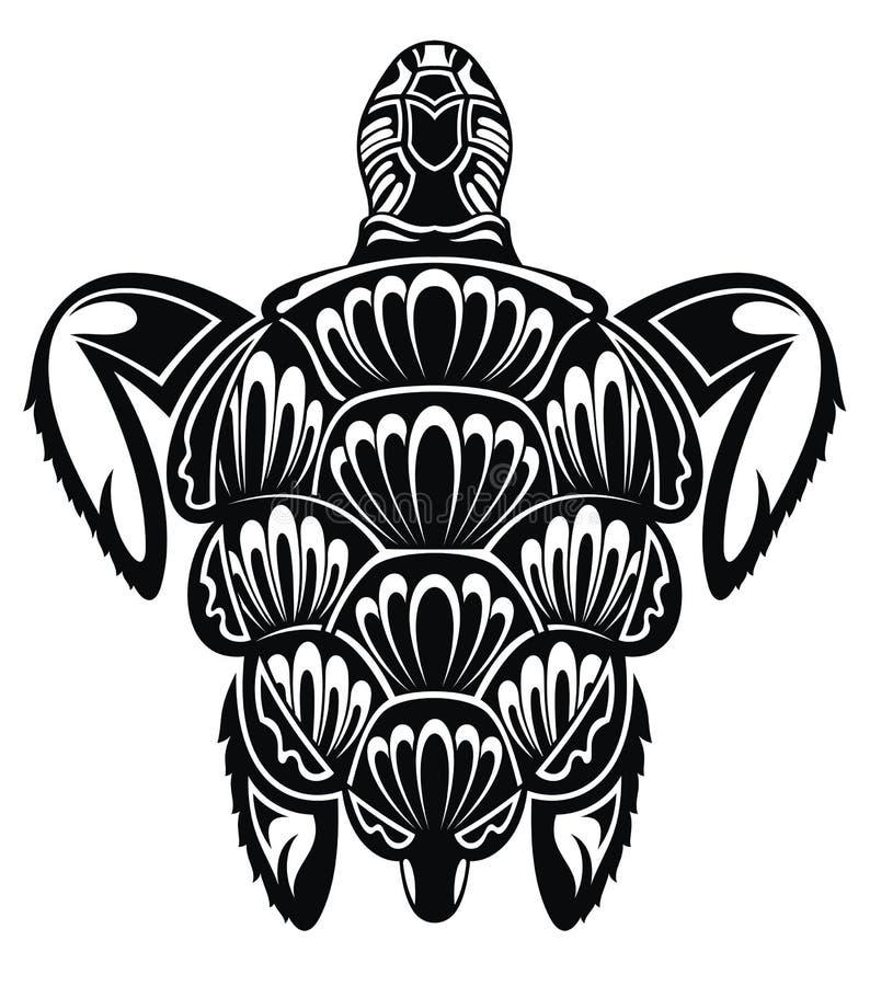 Dekorativ grafisk havssk?ldpadda kontrollera designbilden min liknande tatuering f?r portf?ljen stock illustrationer
