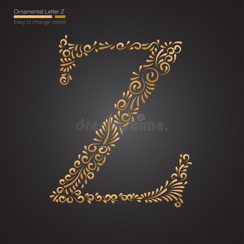 Dekorativ guld- blom- bokstav Z vektor illustrationer