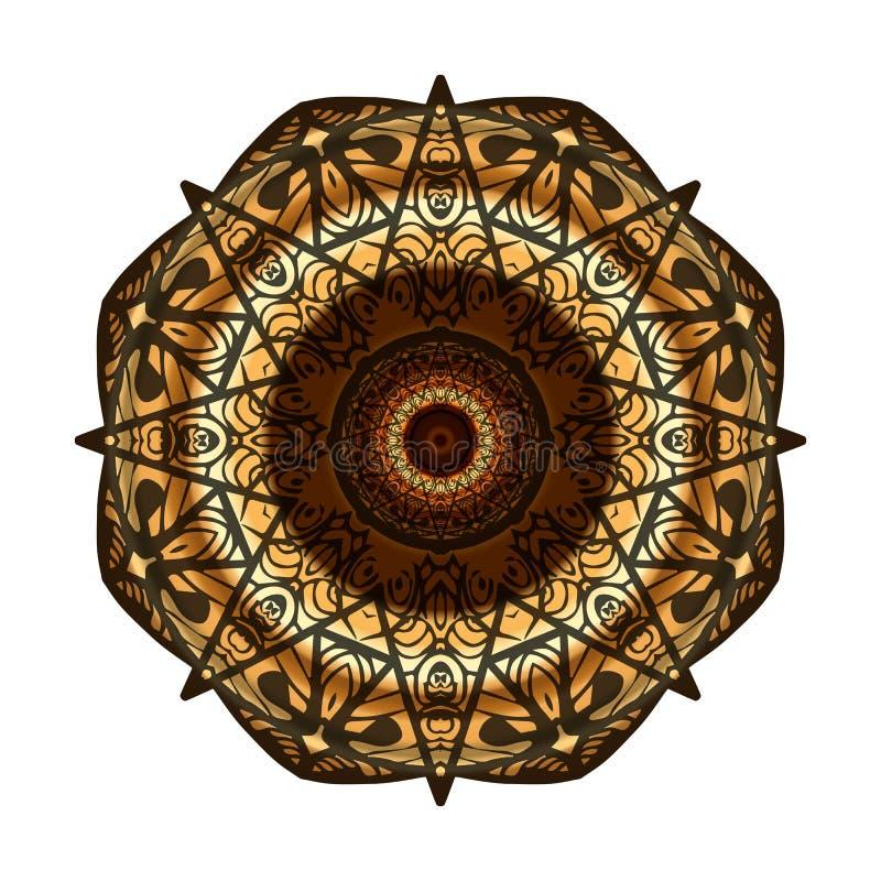 Dekorativ guld, brun ram med tappningrundamodeller på vit stock illustrationer