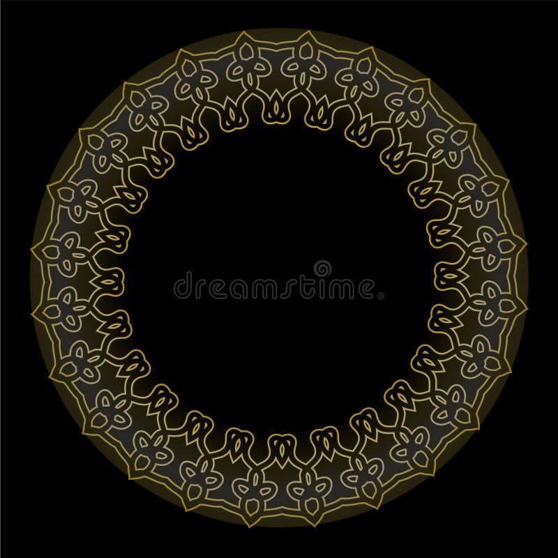 Dekorativ guld- cirkelram på svart bakgrund Ramar för etiketter för baner för tappningvektor guld- calligraphic design royaltyfri illustrationer