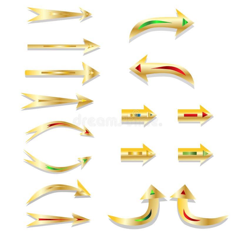 Dekorativ-guld-pil-pekare vektor illustrationer