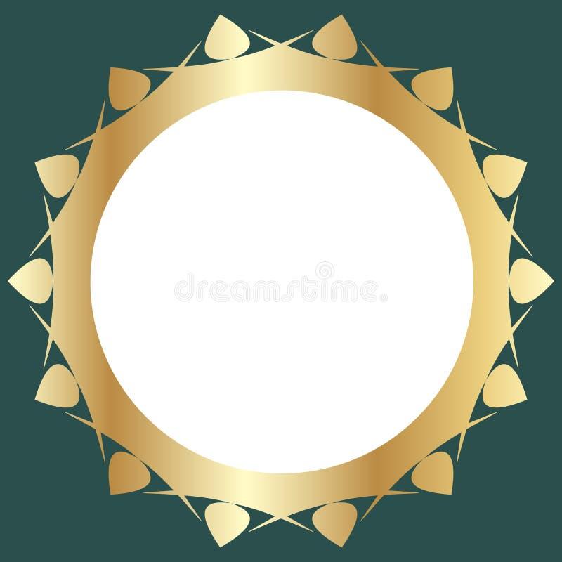 Dekorativ guld- ram med abstrakt blom- design på grön bakgrund Rund modellsammansättning stock illustrationer