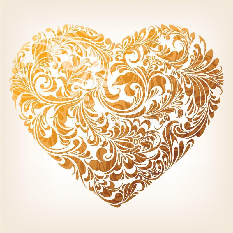Dekorativ guldhjärtamodell royaltyfri illustrationer
