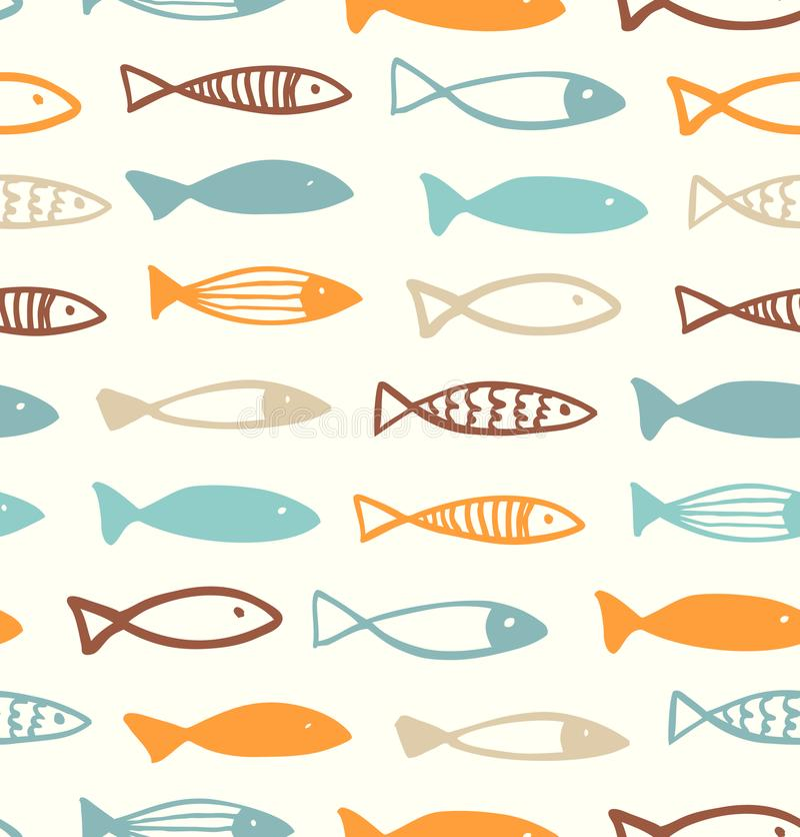 Dekorativ gullig teckningsmodell med den roliga fisken seamless bakgrundsflotta royaltyfri illustrationer