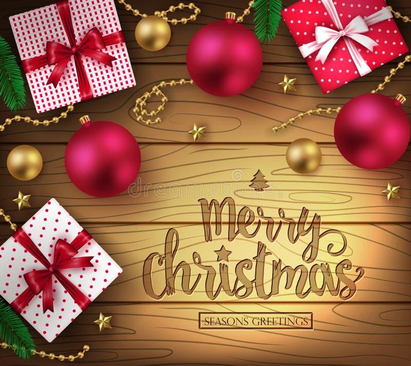 Dekorativ hälsningaffisch för jul i brun träbakgrund royaltyfri illustrationer