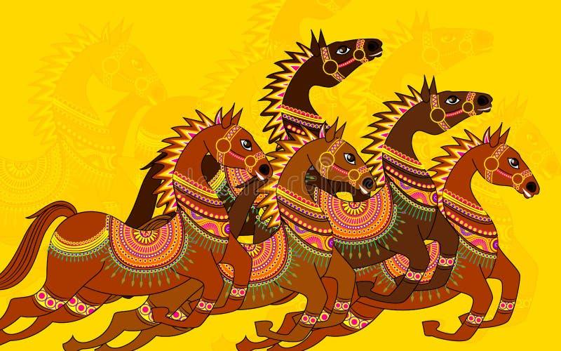 Dekorativ häst vektor illustrationer